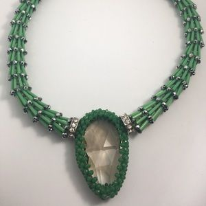 Green Emerald/Silver colored beaded  Necklace.
